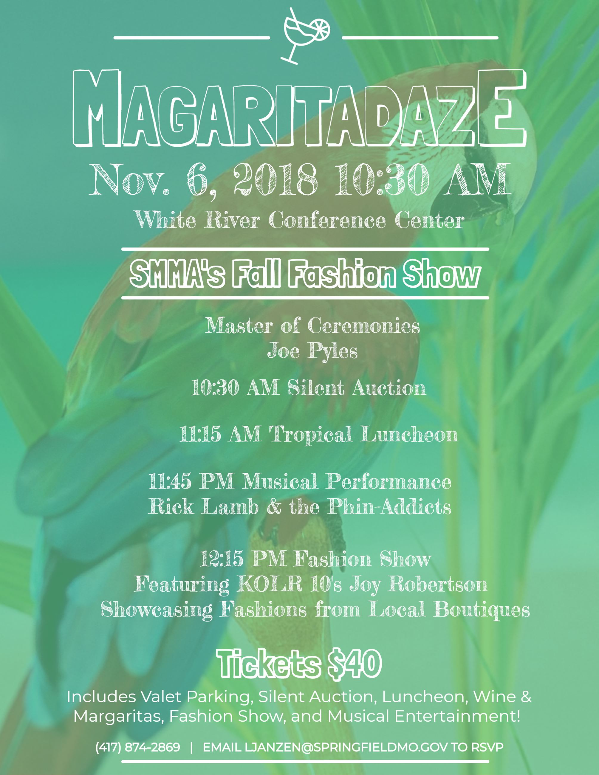 Margaritadaze flyer featuring a colorful parrot and palm fronds underneath a lime green overlay.