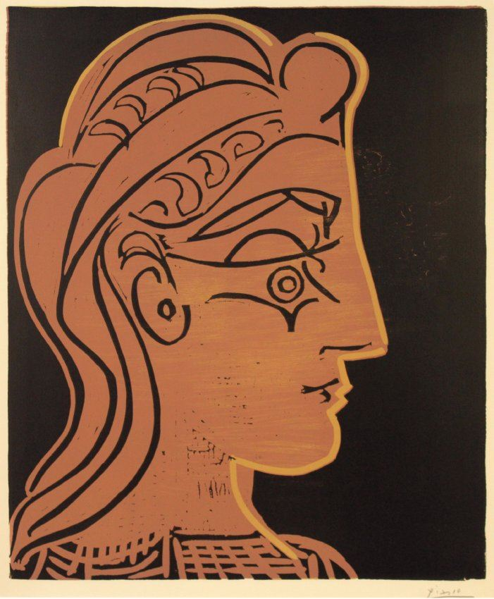 Pablo Picasso, Tete du Femme de Profil, 1959, linocut in three colors. Gift of John Cooper. Collecti
