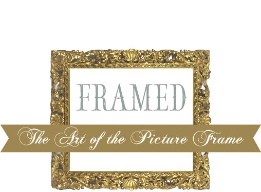 "a gold gilt frame, inside the frame is the text ""Framed"" with a banner below that says ""the"