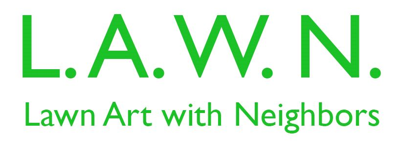 "Lawn Art With Neighbors logo featuring the words ""Lawn Art With Neighbors"" in green text."