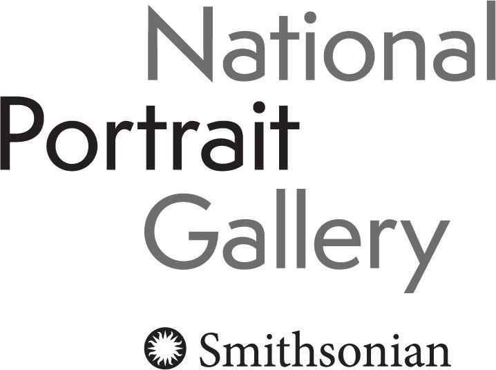 A text logo for the National Potrait Gallery with the words stacked horizontally in black and white