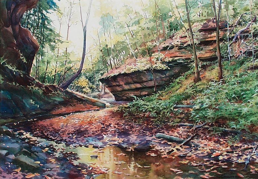 a landscape painting made in watercolor showing a stream filled with leaves winding through a stream