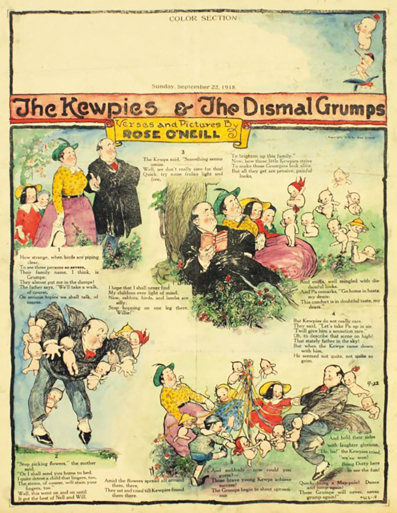 A color full page comic sheet from 1918 depicting the Kewpie characters and the dismal grumps.
