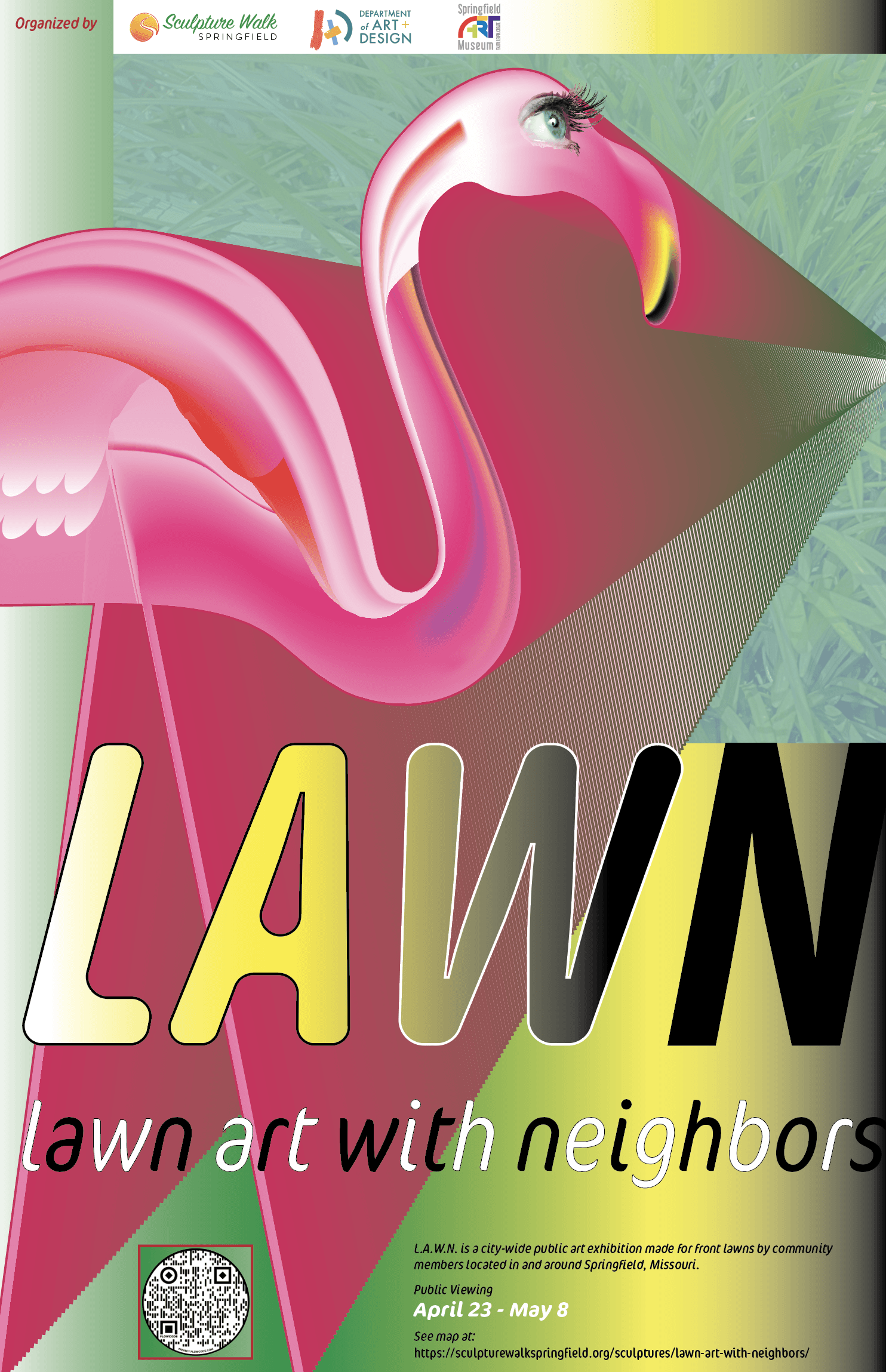 Lawn Art With Neighbors 2021 logo featuring a stylized hot pink lawn flamingo