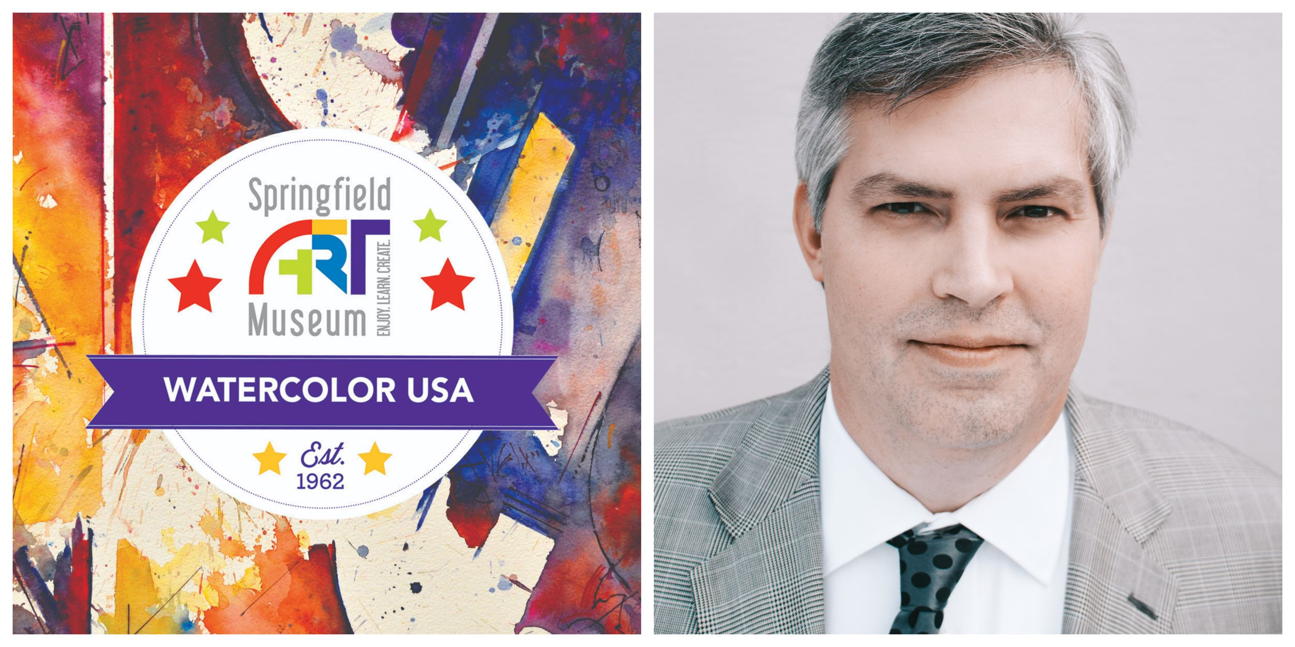 Watercolor USA logo with a headshot of Museum Director Nick Nelson