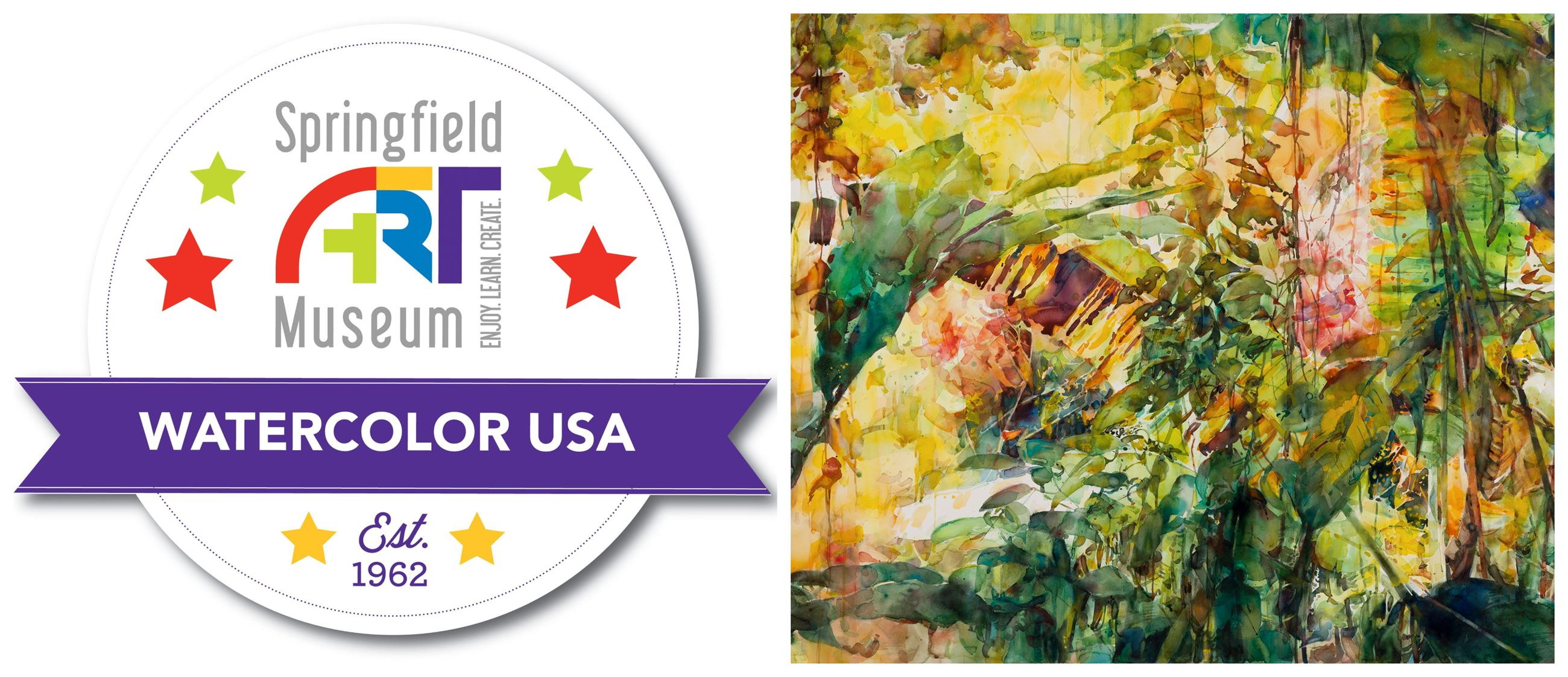 "Watercolor USA evergreen seal with Stephen Zhang's abstract watercolor painting ""Hidden."""