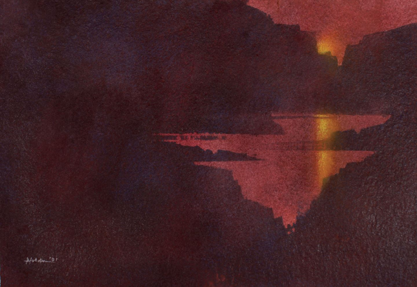 Moody landscape painting of Lake Powell in reds and deep burgundies