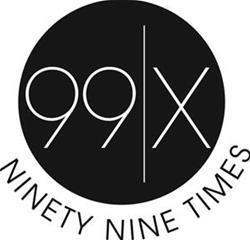 "Black and white circle with the words ""99x"" within it."