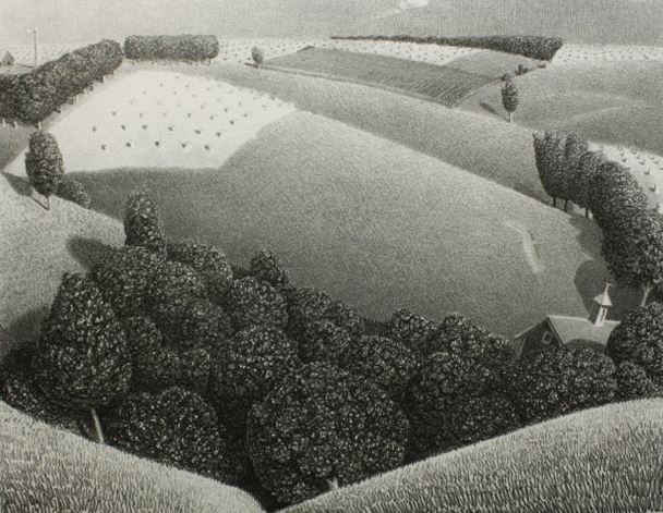 lithograph by Grant Wood featuring rolling hillsides with trees