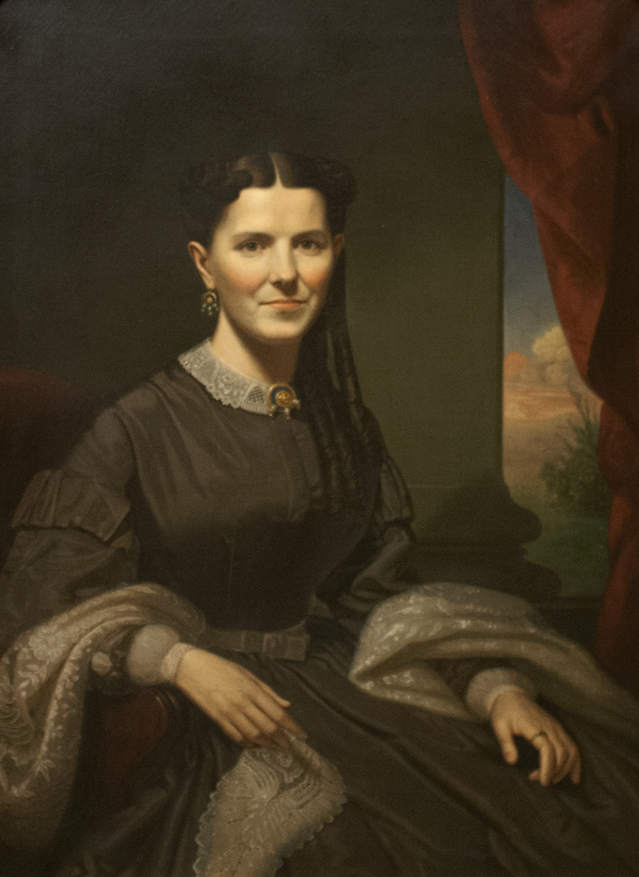Realistic portrait of a seated woman named Fanny Crenshaw painted by George Caleb Bingham