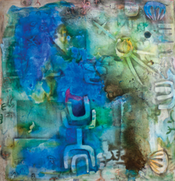 Abstract painting with blue and white symbols