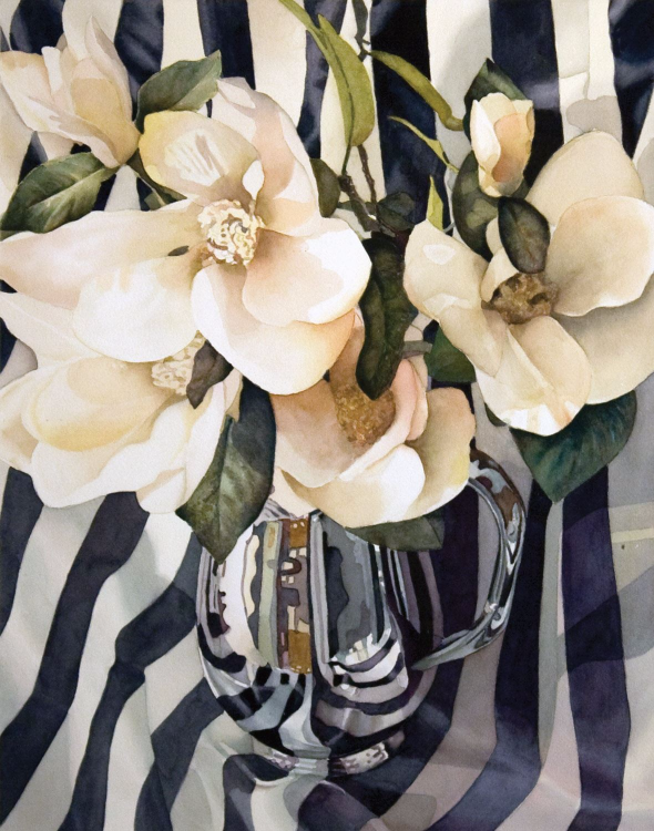 White Magnolias in Silver Pitcher, a watercolor painting by Joyce Eesley