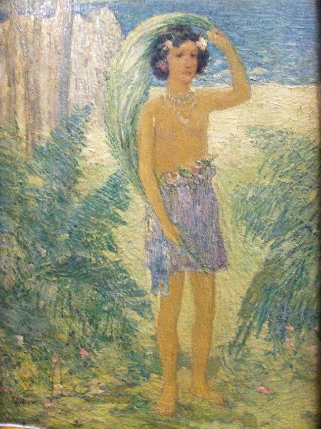 an impressionist style painting of a young girl wearing a grass skirt standing amidst palm tree and