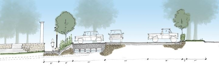 Sketch showing the proposed cross section of the parking lot with stormwater improvements.