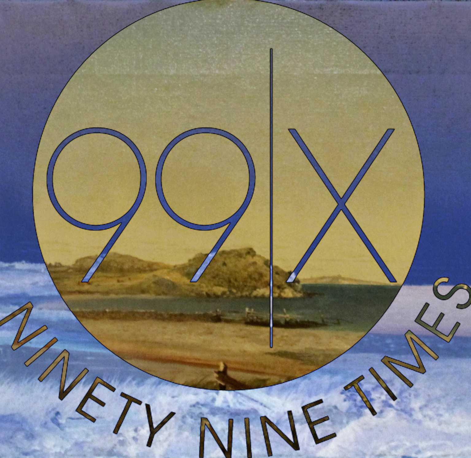 The 99 Times Party logo superimposed over Kensett's seascape of Newport, Rhode Island.