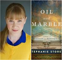 Photo of author Stephanie Storey and Oil and Marble book cover